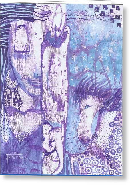 Calling Upon The Spirit Animals Greeting Card by Prerna Poojara
