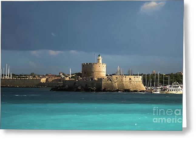 Calm After The Storm At Mandraki Harbor  Greeting Card by Amy Sorvillo