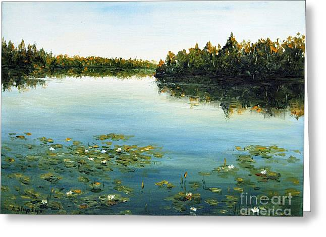 Greeting Card featuring the painting Calm by Arturas Slapsys
