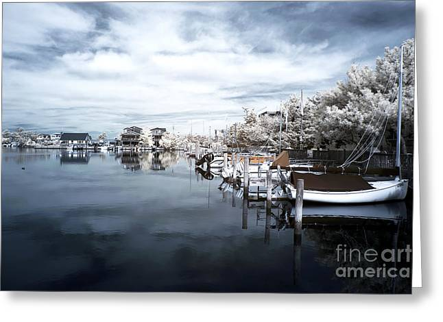 Calm At Lbi Blue Infrared Greeting Card by John Rizzuto