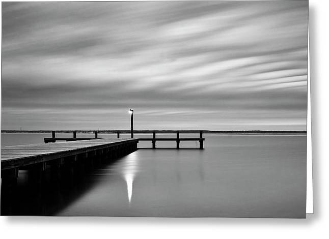 Calm Barnegat Bay New Jersey Black And White Greeting Card