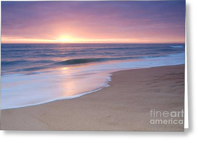Calm Beach Waves During Sunset Greeting Card