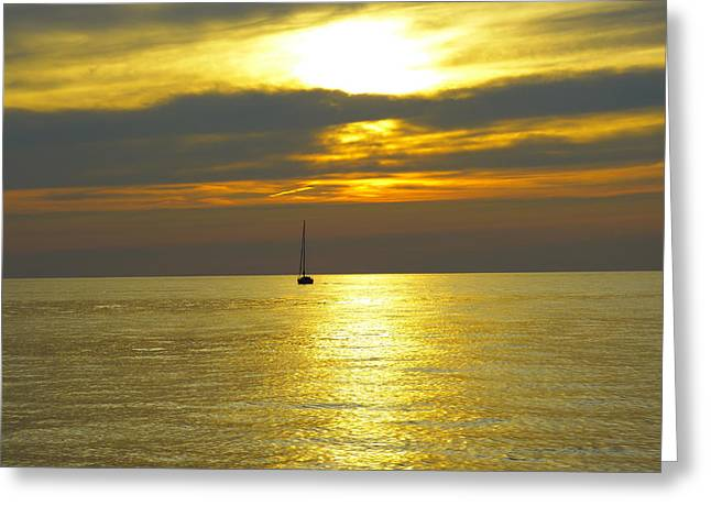 Calm Before Sunset Over Lake Erie Greeting Card by Donald C Morgan