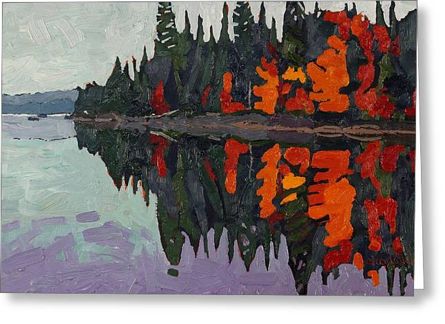 Calm Canoe Lake Reflections Greeting Card by Phil Chadwick