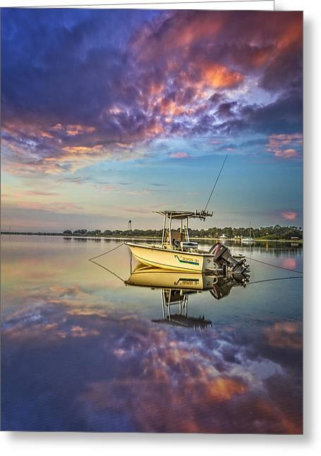 Boats At The Dock Greeting Cards - Calm Greeting Card by Debra and Dave Vanderlaan
