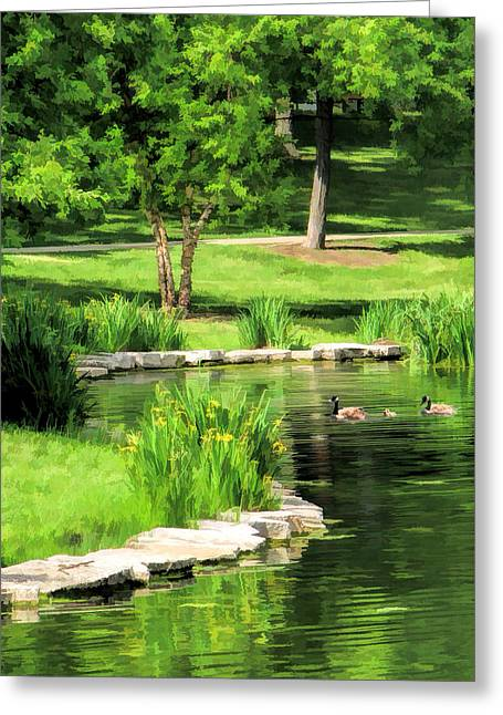 Greeting Card featuring the painting Calm Lake Ellyn by Christopher Arndt