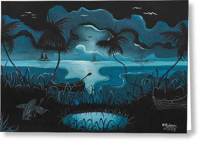 Calm Moonlit Sea Greeting Card by Herold Alvares