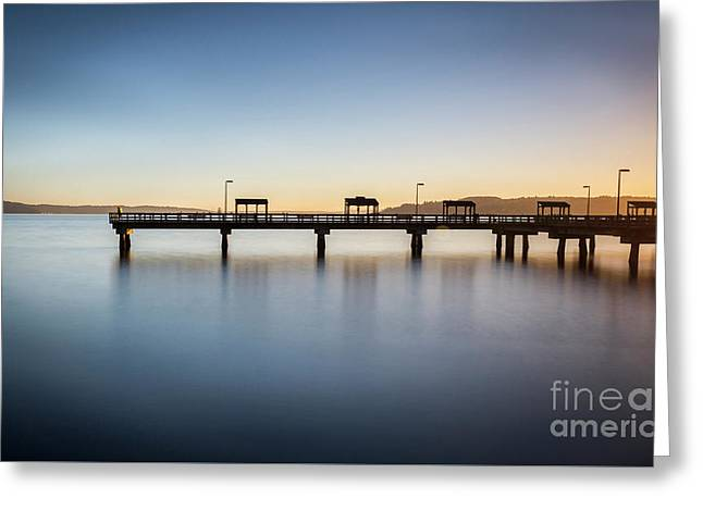 Calm Morning At The Pier Greeting Card