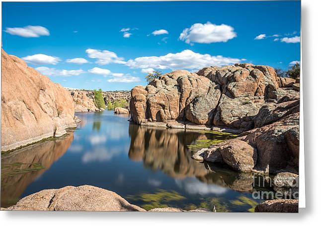 Calm Reflections At Watson Lake Greeting Card by Leo Bounds