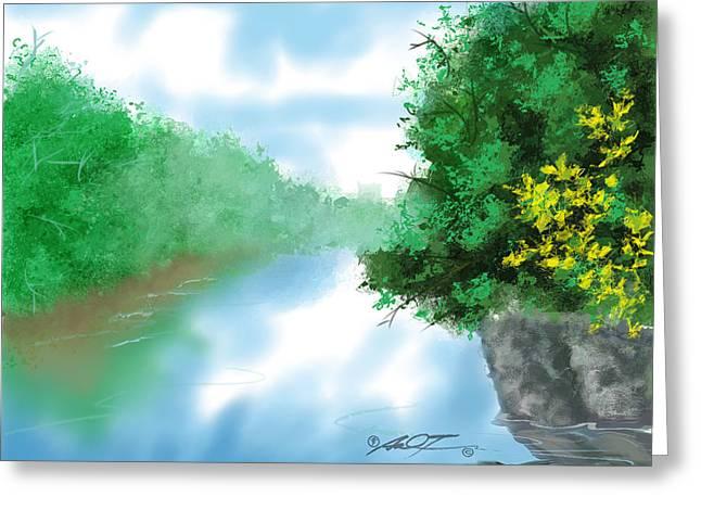 Calm River Greeting Card