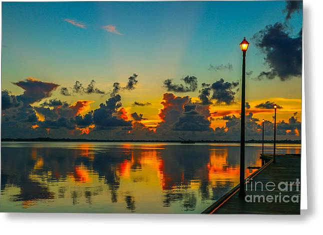 Calm River Sunrise Greeting Card by Tom Claud