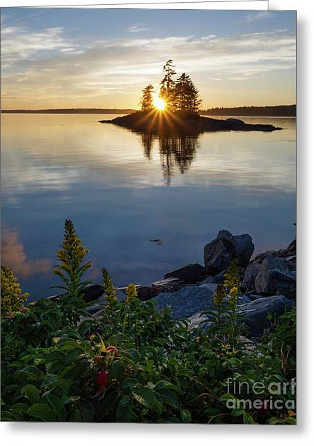 Calm Water At Sunset, Harpswell, Maine -99056-99058 Greeting Card