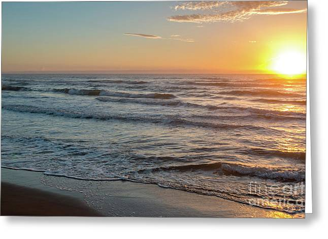 Calm Water Over Wet Sand During Sunrise Greeting Card