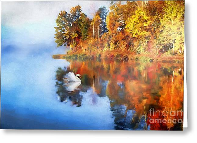 Calm Waters Of Autumn Greeting Card