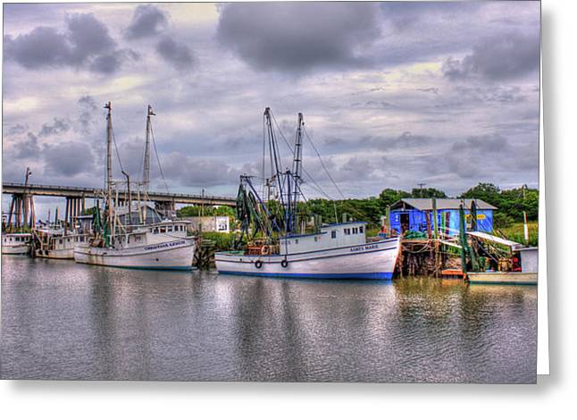 Calm Waters Shrimp Boats Tybee Island Georgia Art Greeting Card by Reid Callaway