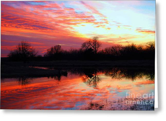 Greeting Card featuring the photograph Calming Sunset by Larry Keahey