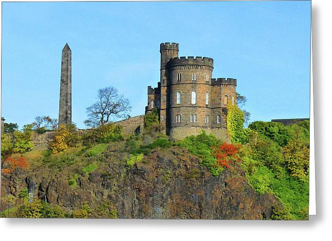 Calton Hill Greeting Card by Deborah Smolinske