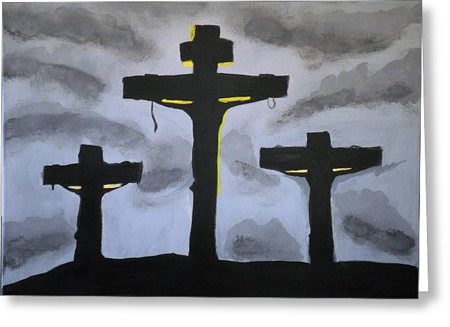 Three Crosses Greeting Card by Kate Farrant