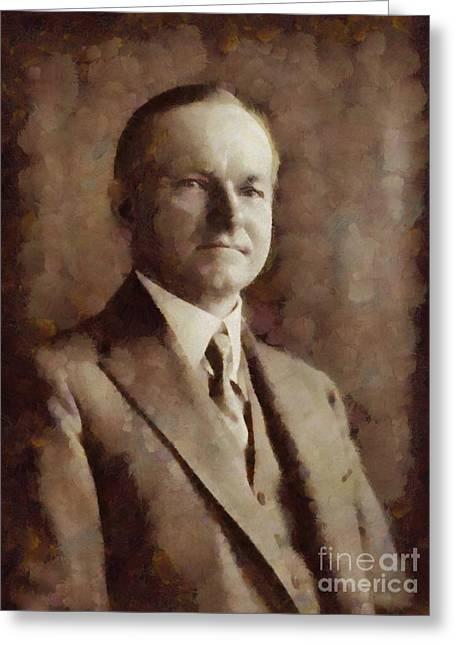 Calvin Coolidge, President United States By Sarah Kirk Greeting Card by Sarah Kirk