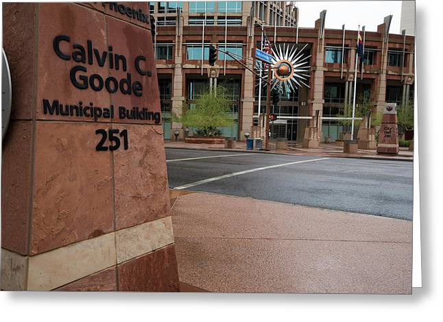 Greeting Card featuring the photograph Calvin Goode Municipal Building Phoenix Az by Dave Dilli