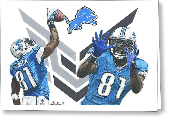Calvin Johnson Greeting Card by Chris Brown