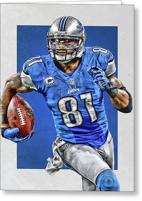 Calvin Johnson Detroit Lions Art Greeting Card