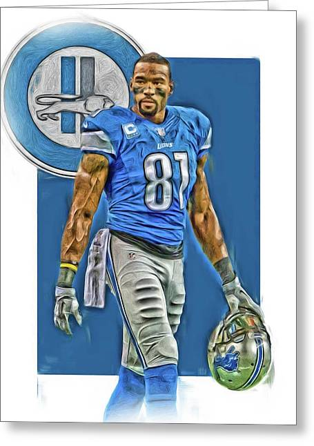 Calvin Johnson Detroit Lions Oil Art Greeting Card
