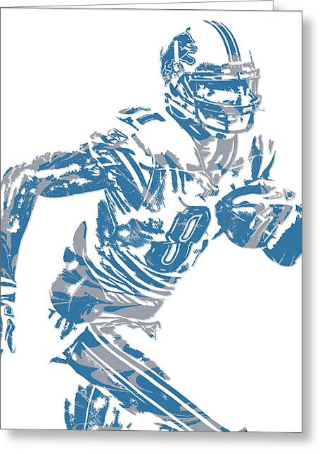 Calvin Johnson Detroit Lions Pixel Art 5 Greeting Card