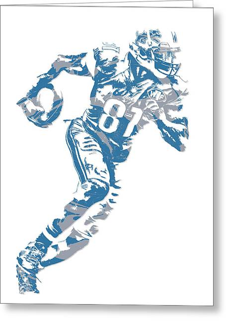 Calvin Johnson Detroit Lions Pixel Art 7 Greeting Card