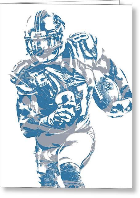 Calvin Johnson Detroit Lions Pixel Art 8 Greeting Card