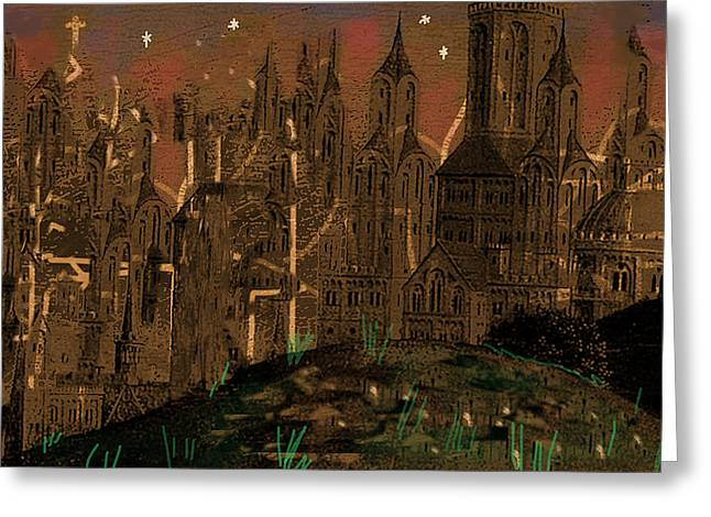 Calvino's Night...after Van Eyck Greeting Card by Paul Sutcliffe