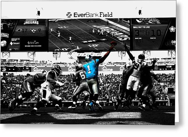 Cam Newton 2f Greeting Card by Brian Reaves