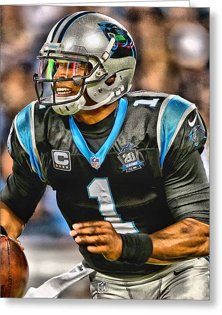 Cam Newton Art 5 Greeting Card