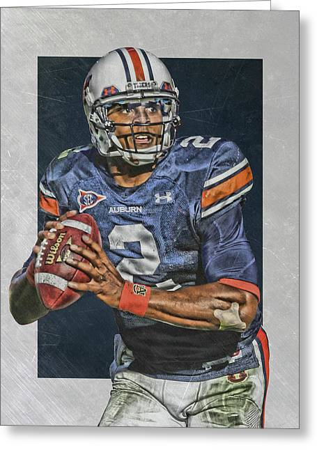 Cam Newton Auburn Tigers Art Greeting Card by Joe Hamilton