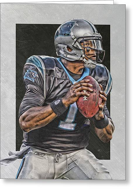 Cam Newton Carolina Panthers Art Greeting Card
