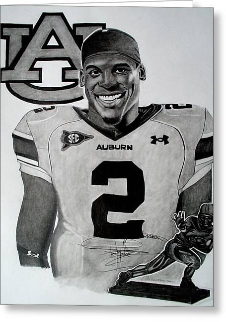 Cam Newton Drawing Greeting Card