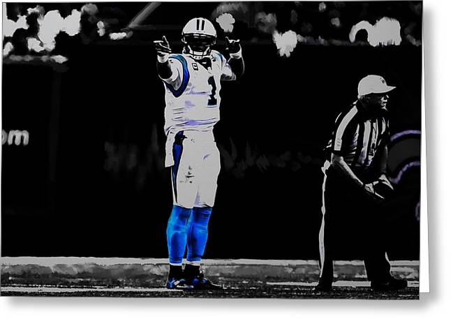 Cam Newton First And Ten Greeting Card by Brian Reaves