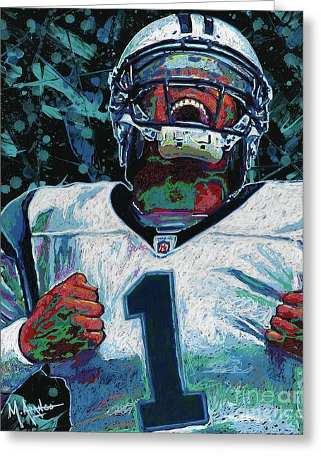 Cam Newton Greeting Card by Maria Arango