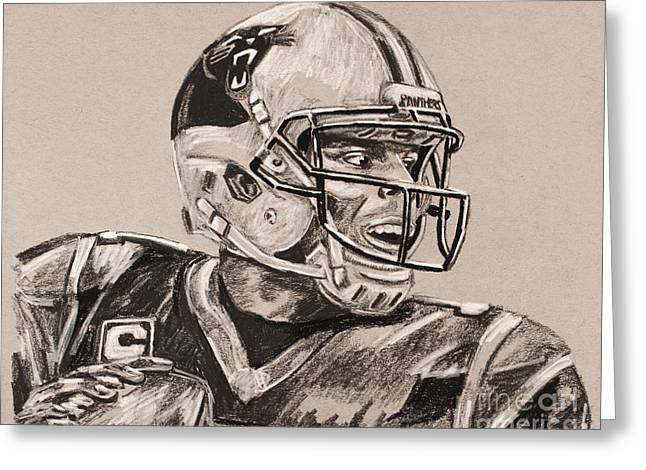 Cam Newton Portrait Greeting Card by Robert Yaeger