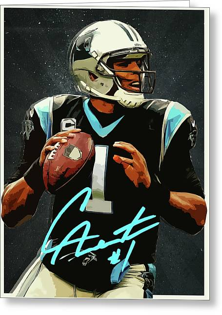 Cam Newton Greeting Card by Semih Yurdabak