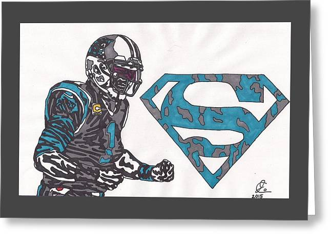 Cam Newton Superman Edition Greeting Card by Jeremiah Colley