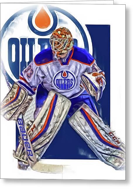Cam Talbot Edmonton Oilers Oil Art Greeting Card by Joe Hamilton