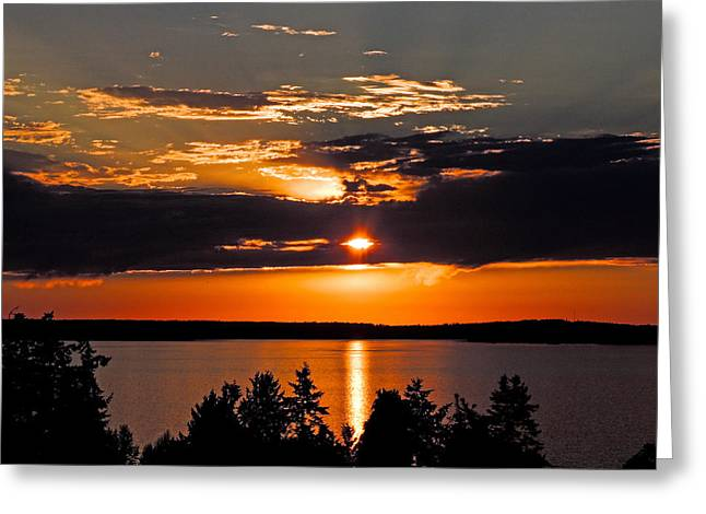 Camano Sunset Of Orange And Gray Greeting Card by Wendy Nelson