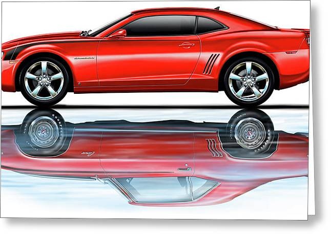 Camaro 2010 Reflects Old Red Greeting Card by David Kyte