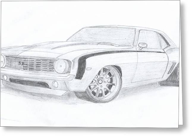 Camaro Ss Greeting Card by Leslie Schofield
