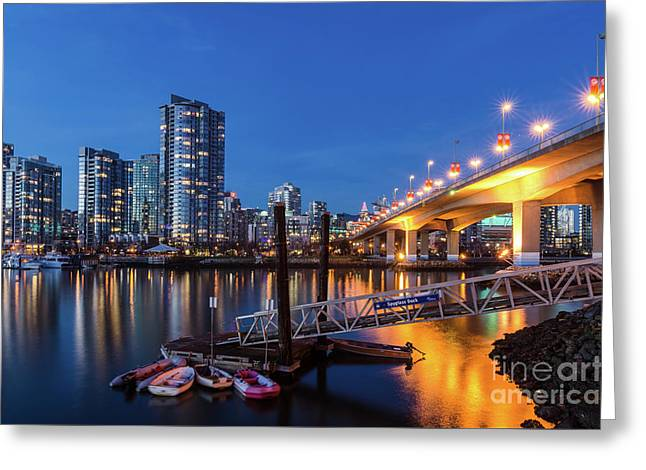 Cambie Street Bridge Twilight Greeting Card by Victor Andre