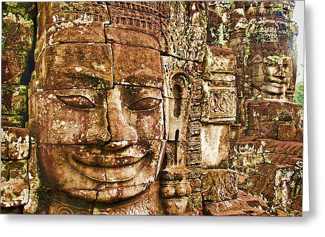 Cambodia Faces  Greeting Card by Dennis Cox WorldViews