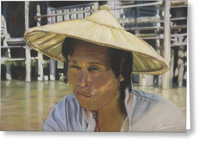 Traveling Salesman Greeting Cards - Cambodia Salesman  Greeting Card by Leonor Thornton