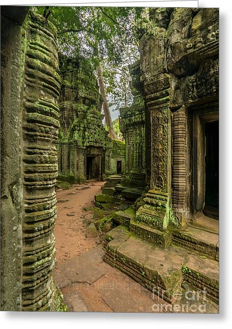 Cambodia Ta Phrom Ruins Greeting Card by Mike Reid