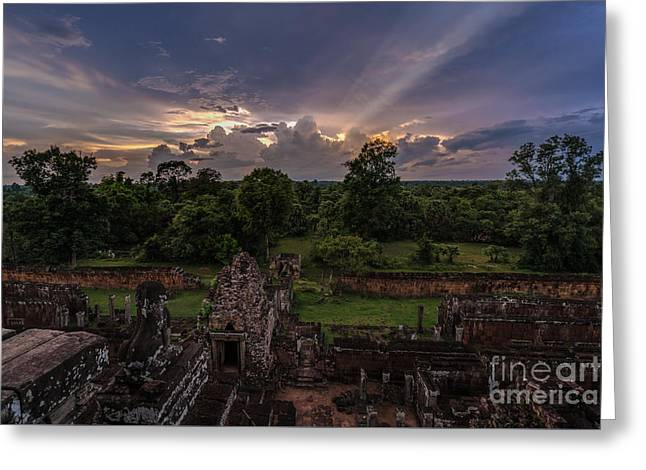Cambodia Temple Ruins Sunset Greeting Card by Mike Reid